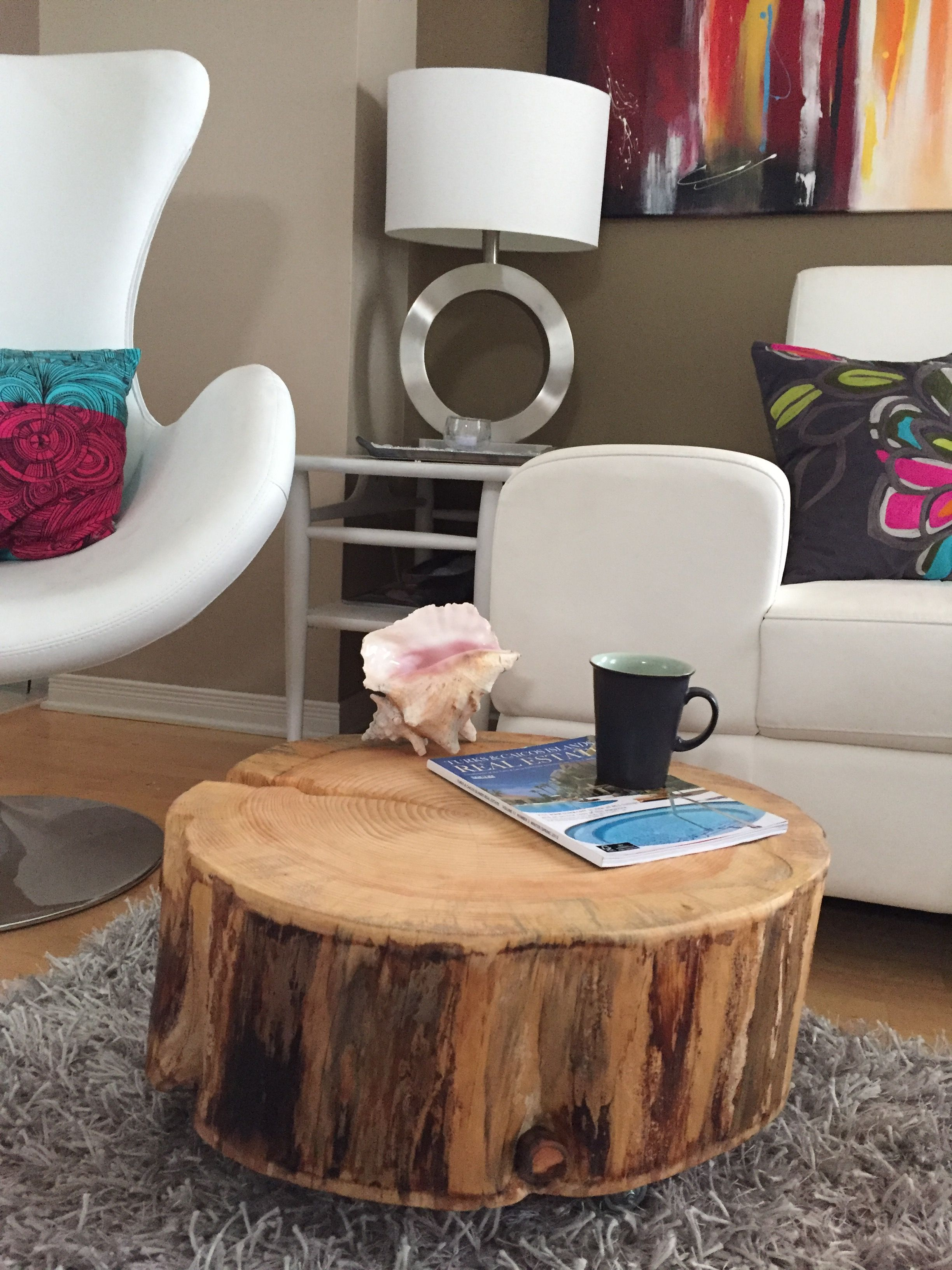Stump Coffee Table, Tree Stump Coffee Table With Metal