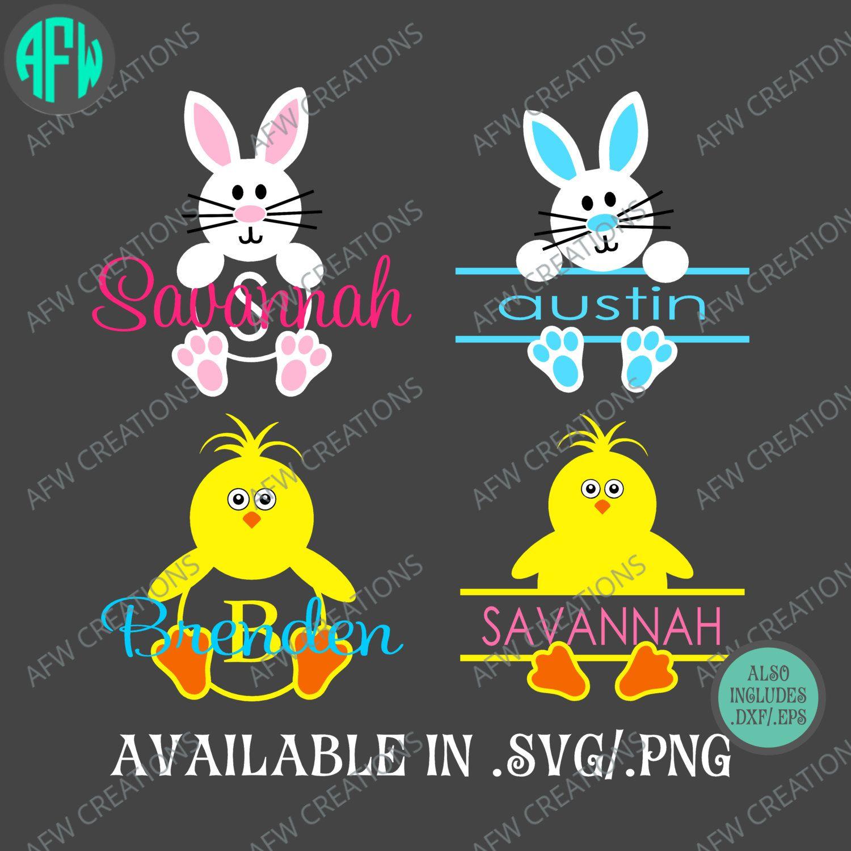 Digital Cut Files Split & Monogram Bunny and Chick