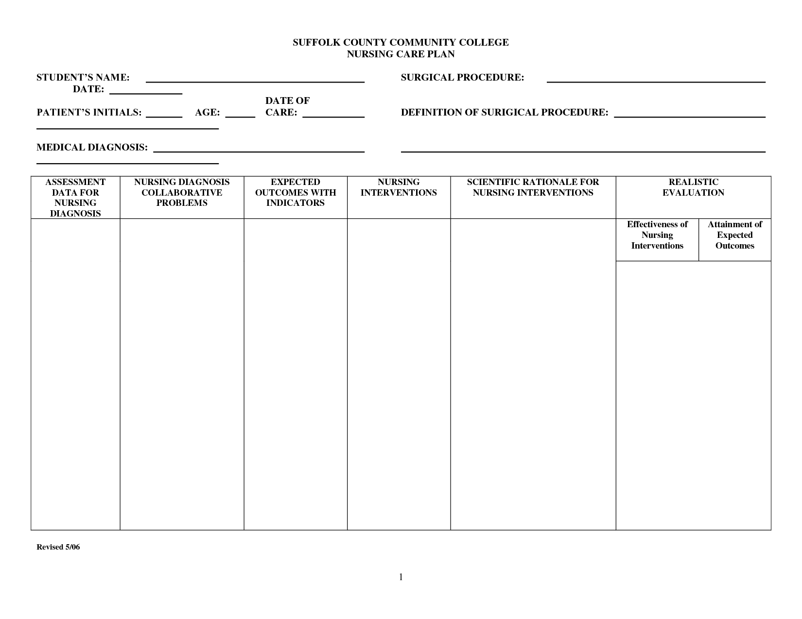 Image Result For Blank Nursing Care Plan Templates