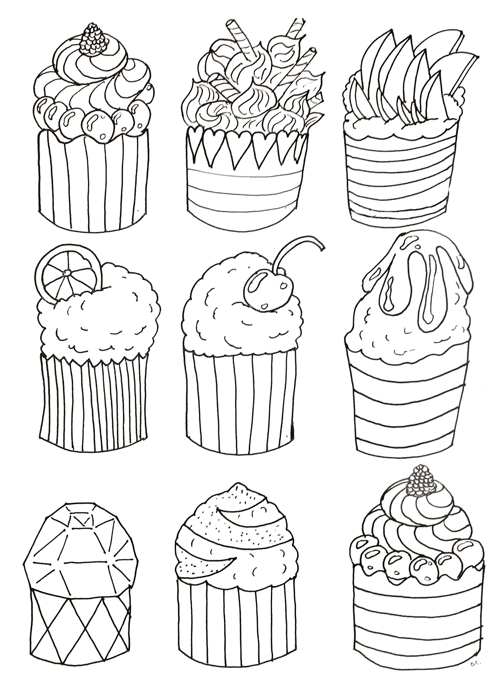 Simple cupcakes coloring page, original drawing to print