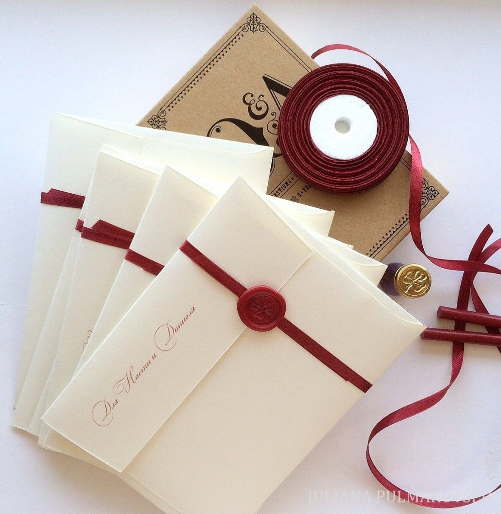 Wax sealed vintage wedding invitatios Wax sealed