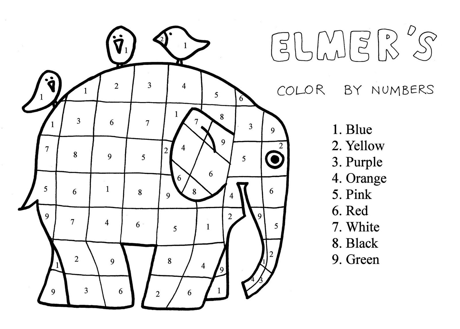 2nd Grade Elmer The Patchwork Elephant Coloring Page Extra Project Color Matching