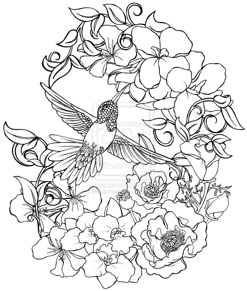 Hummingbird with Flowers Tattoo by Metacharis on