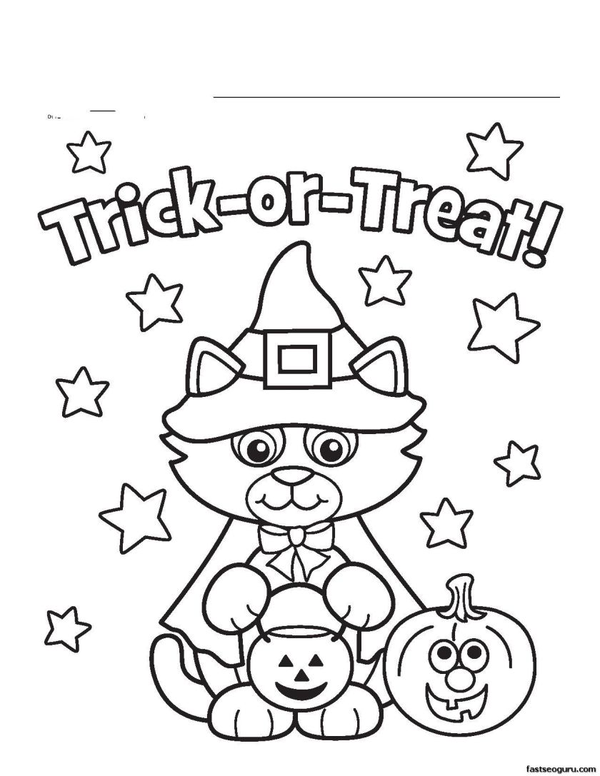 cute cat witch halloween coloring page  coloring