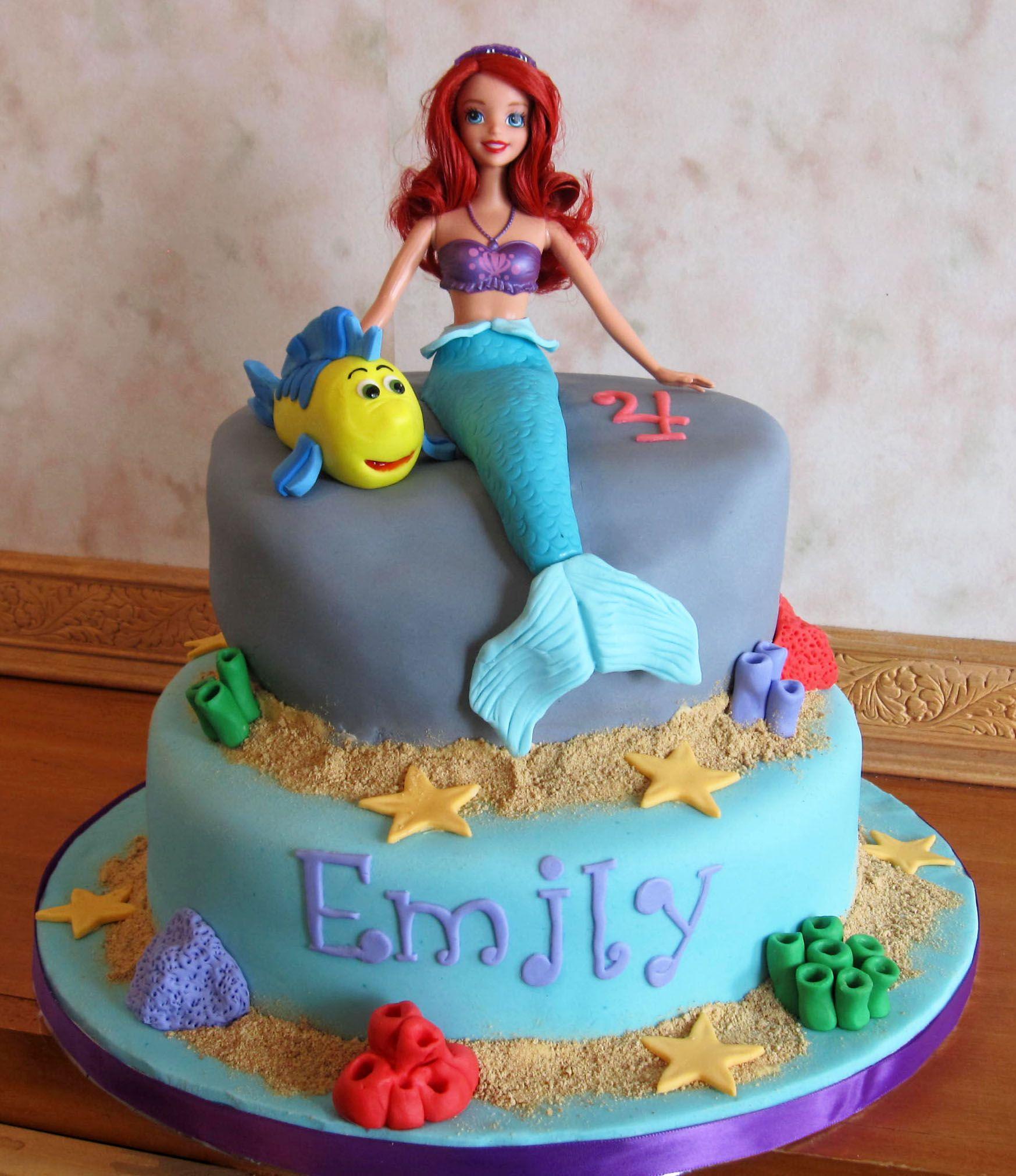 Ariel 4th Birthday Cake With Flounder