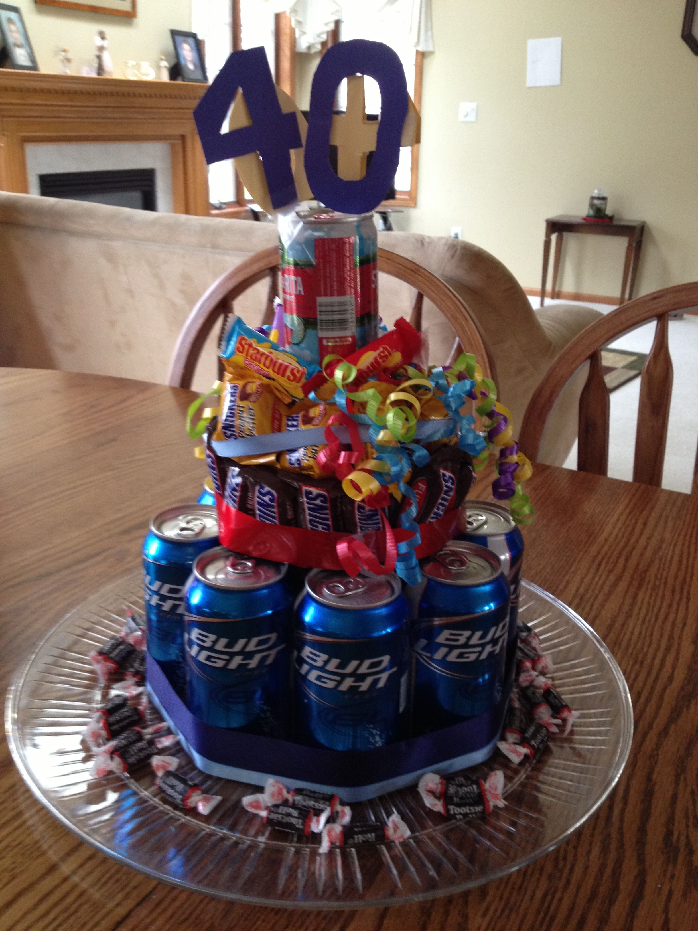 Beer/candy birthday cake for 40th birthday! But has to be