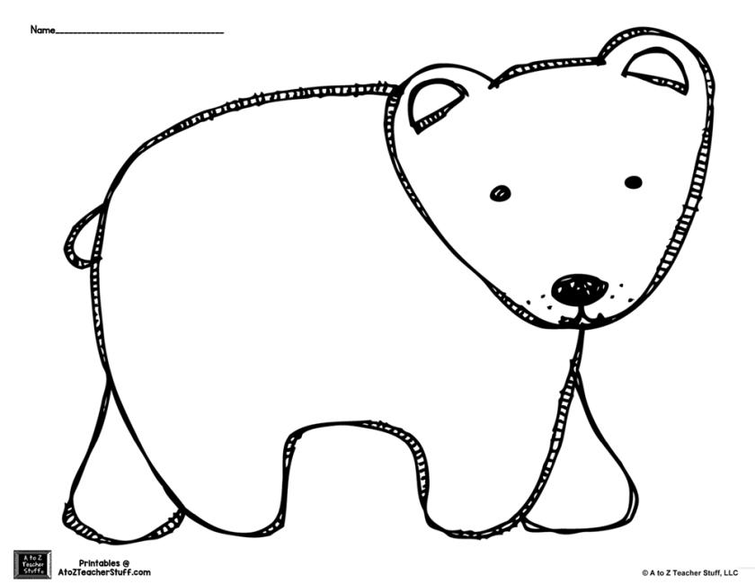 brown bear or polar bear coloring page or pattern {free