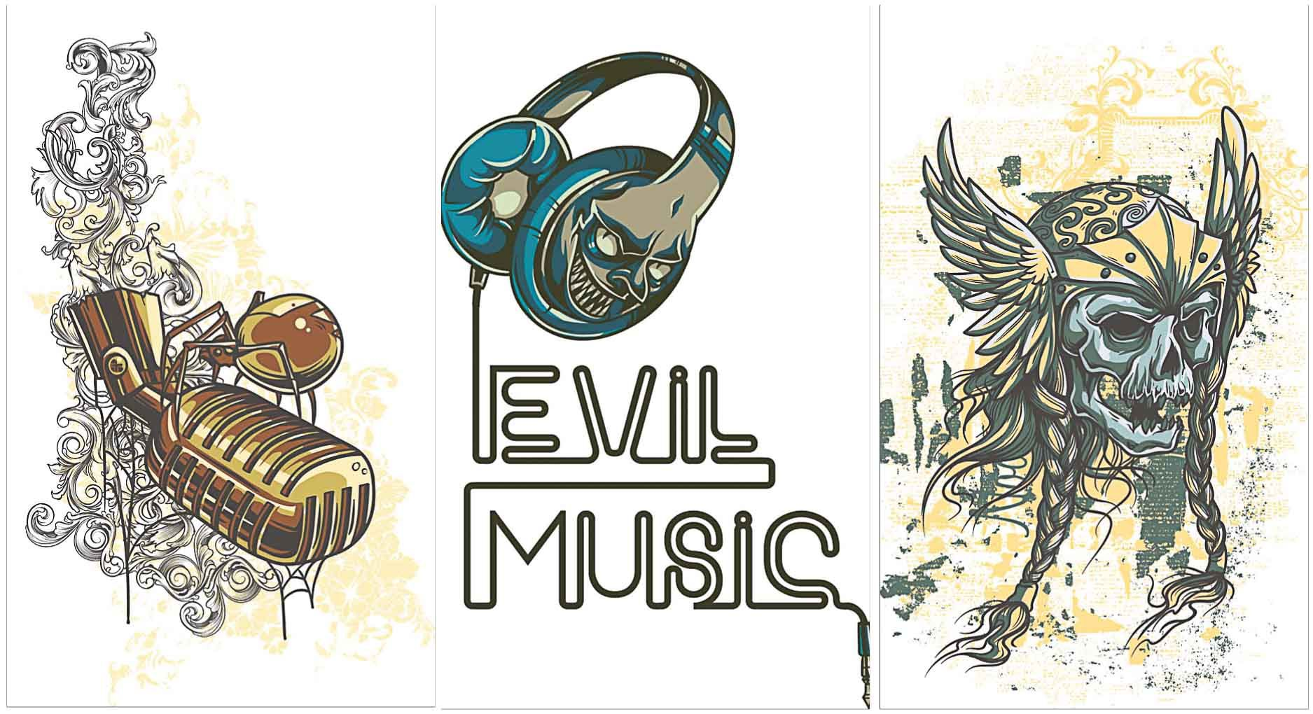 Tshirt prints templates with grunge music vector Set of 3