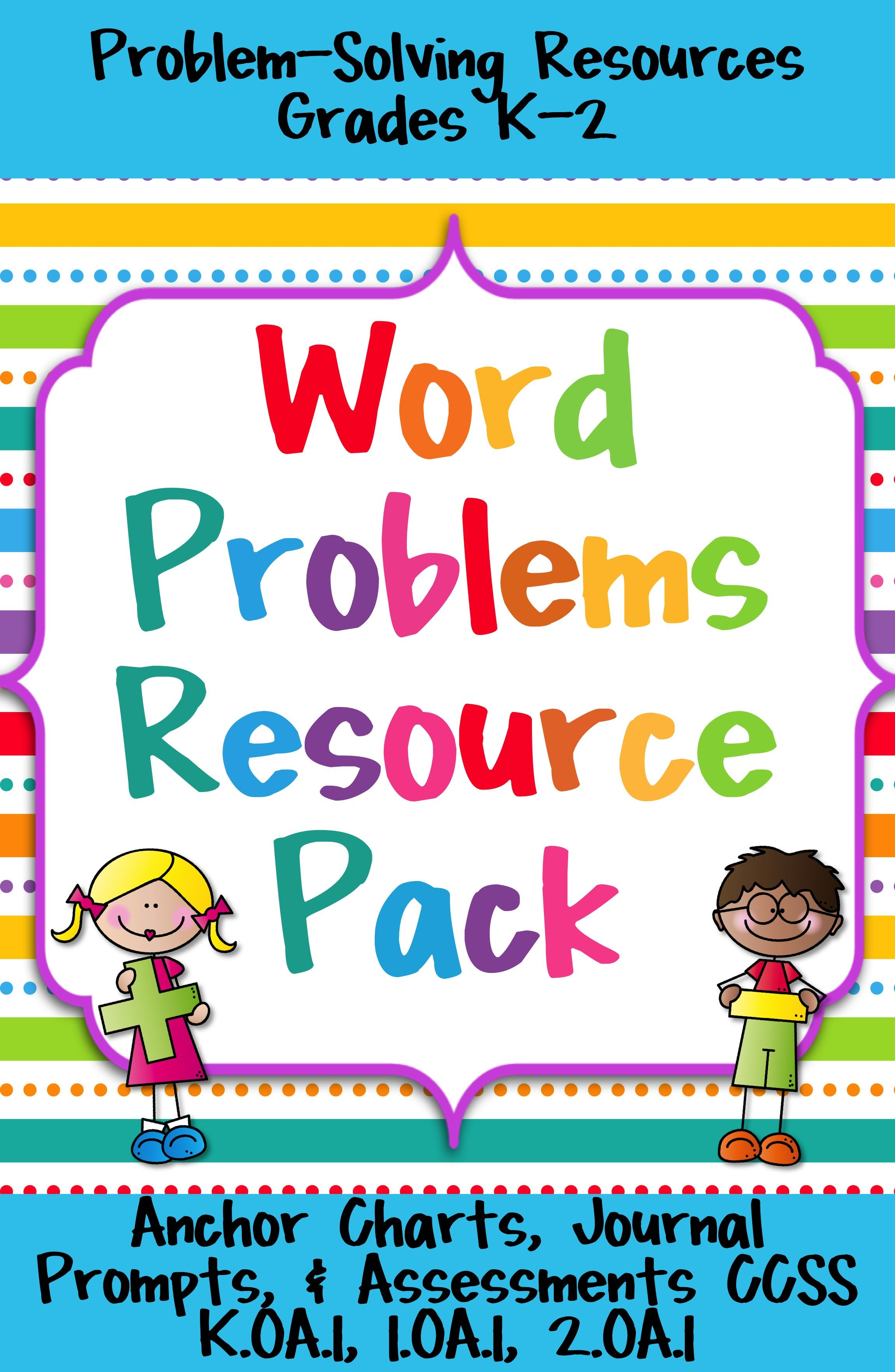 Word Problems Resource Pack Anchor Charts Practice Assessments