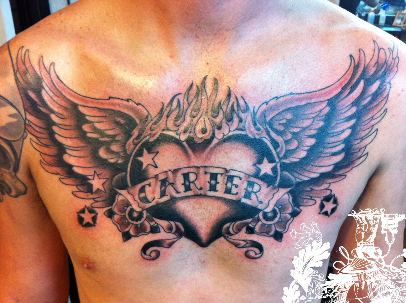 Open Heart Chest Tattoo Angel chest tattoo images