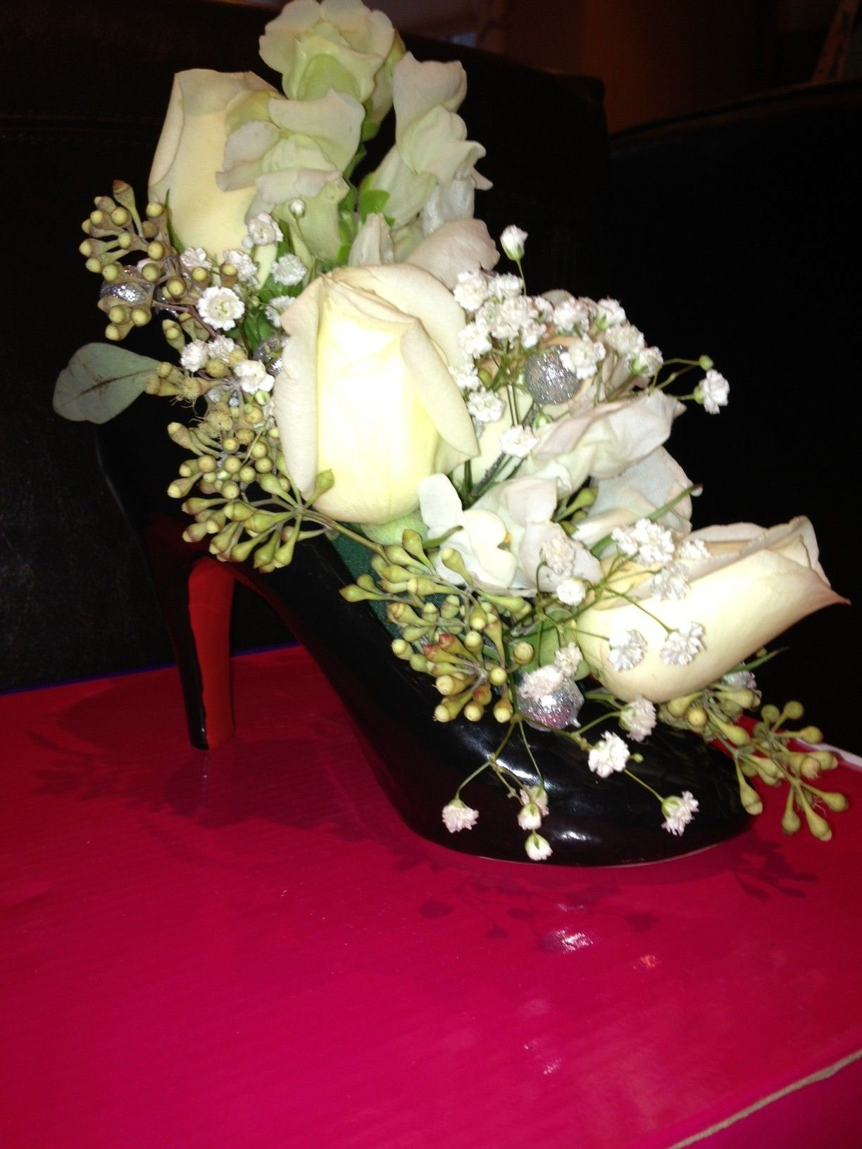 Ceramic High Heel Shoe Vase Floral centerpiece and table