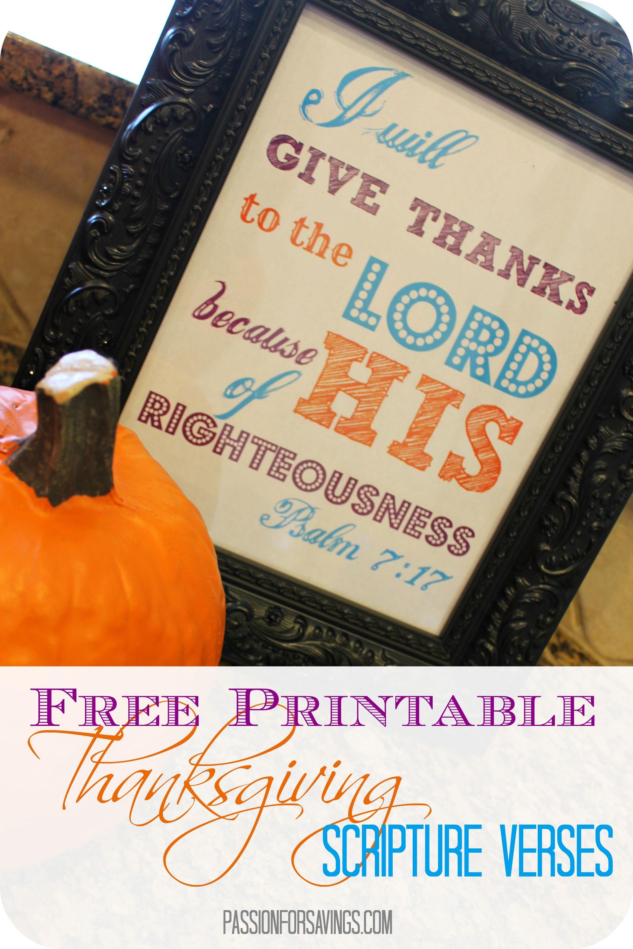 Free Thanksgiving Printable Scripture Verses