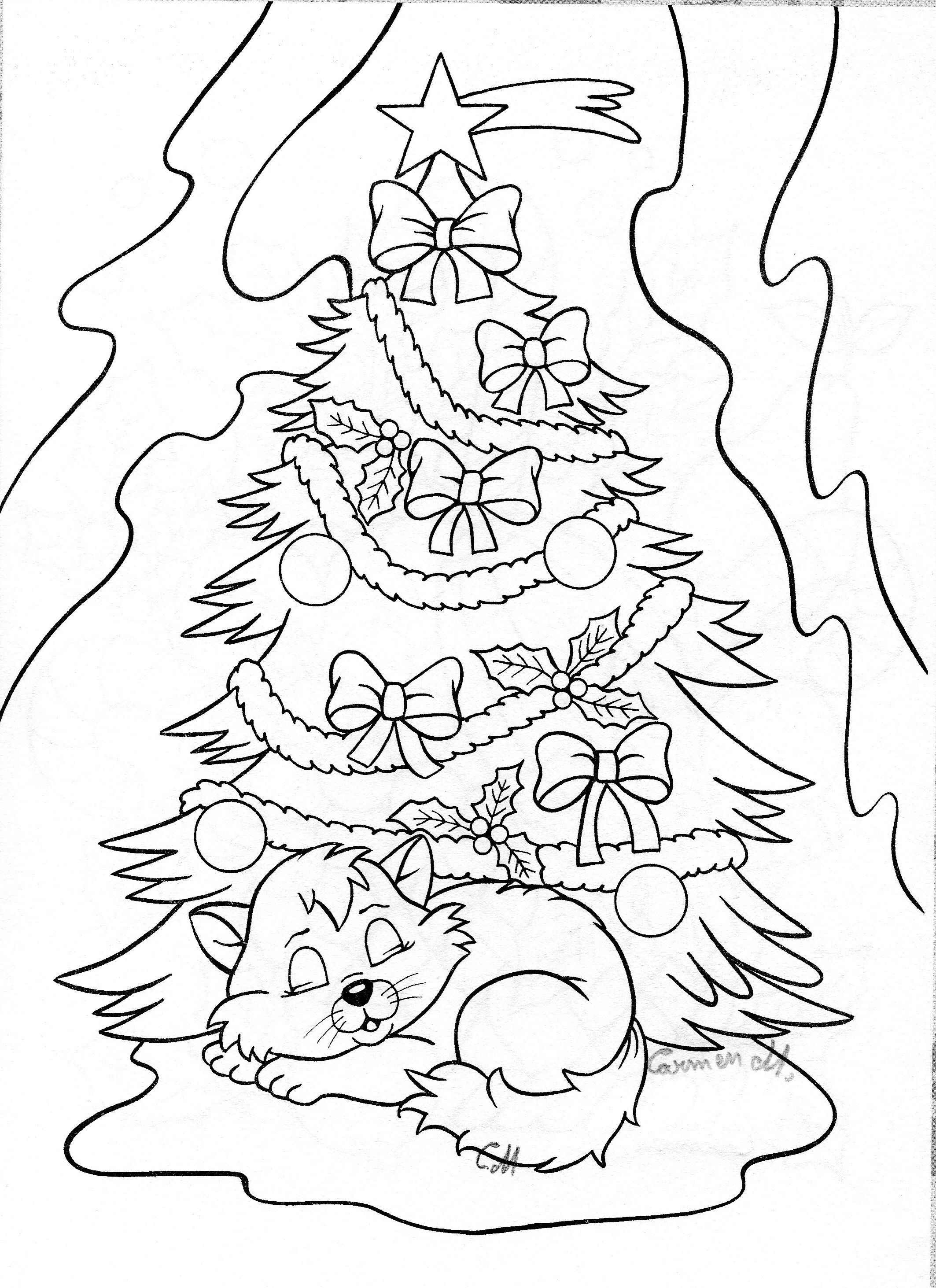Christmas Tree and Kitten Drawing Art Pinterest