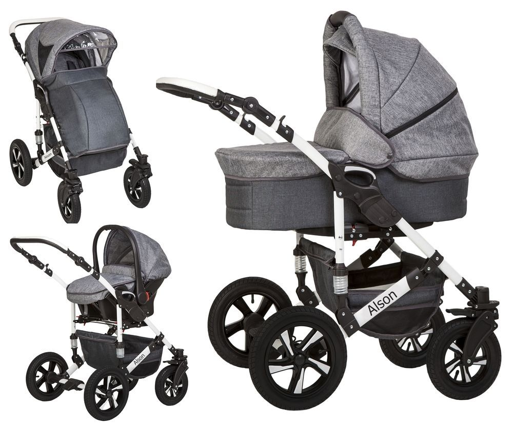 Alson Baby Pram Pushchair Buggy Stroller + Car Seat Travel