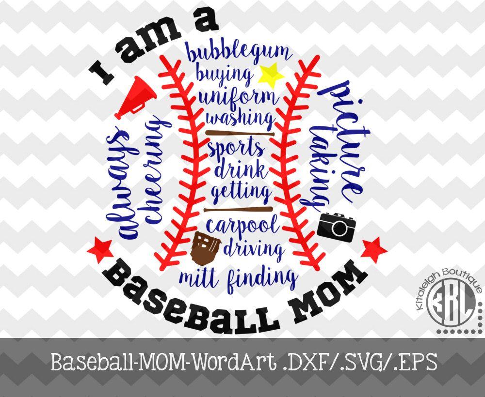 BaseballMomWord Art Decal Files (.DXF/.SVG/.EPS) for use