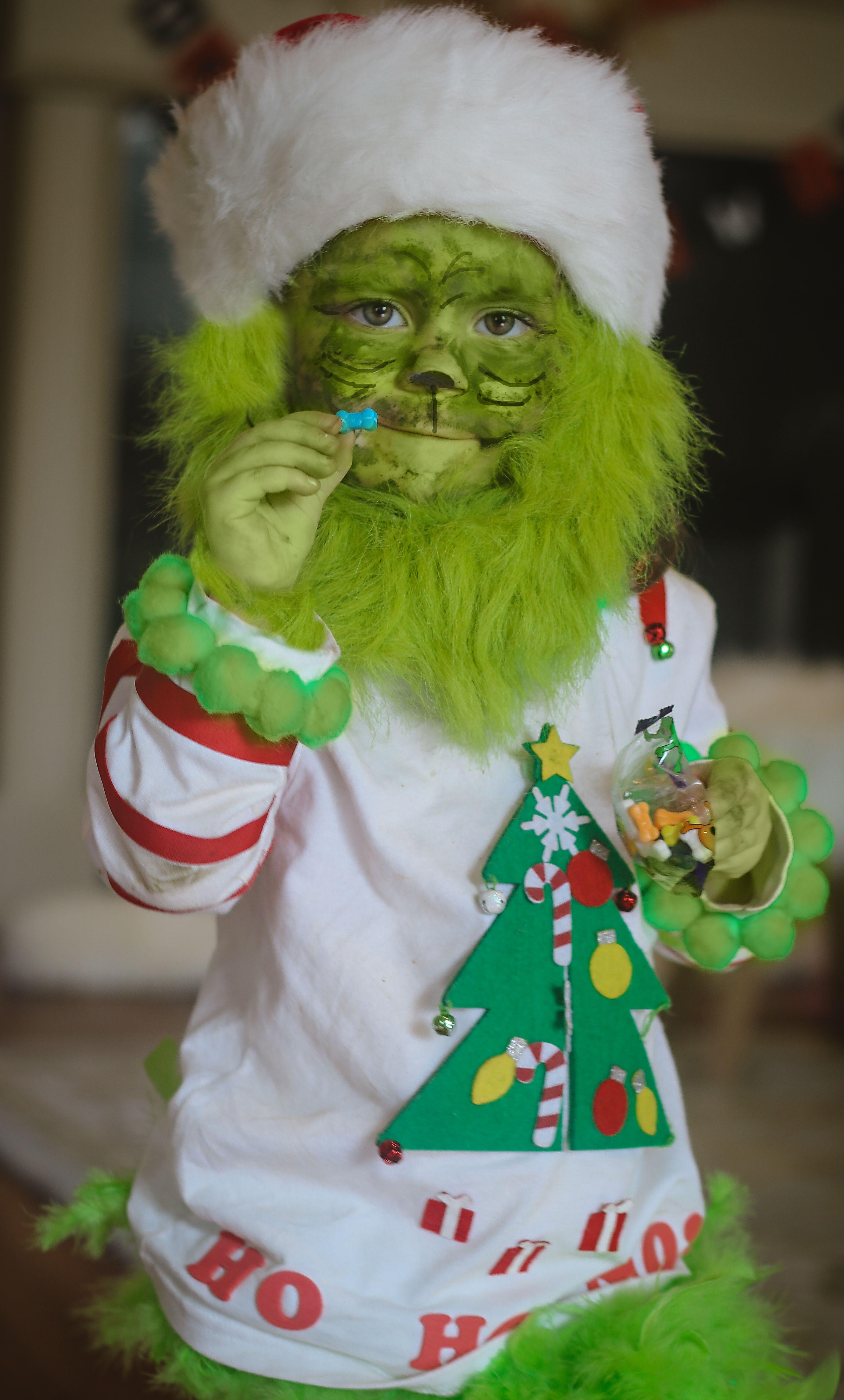 Toddler Grinch Costume, baby grinch, halloween DIY Let's