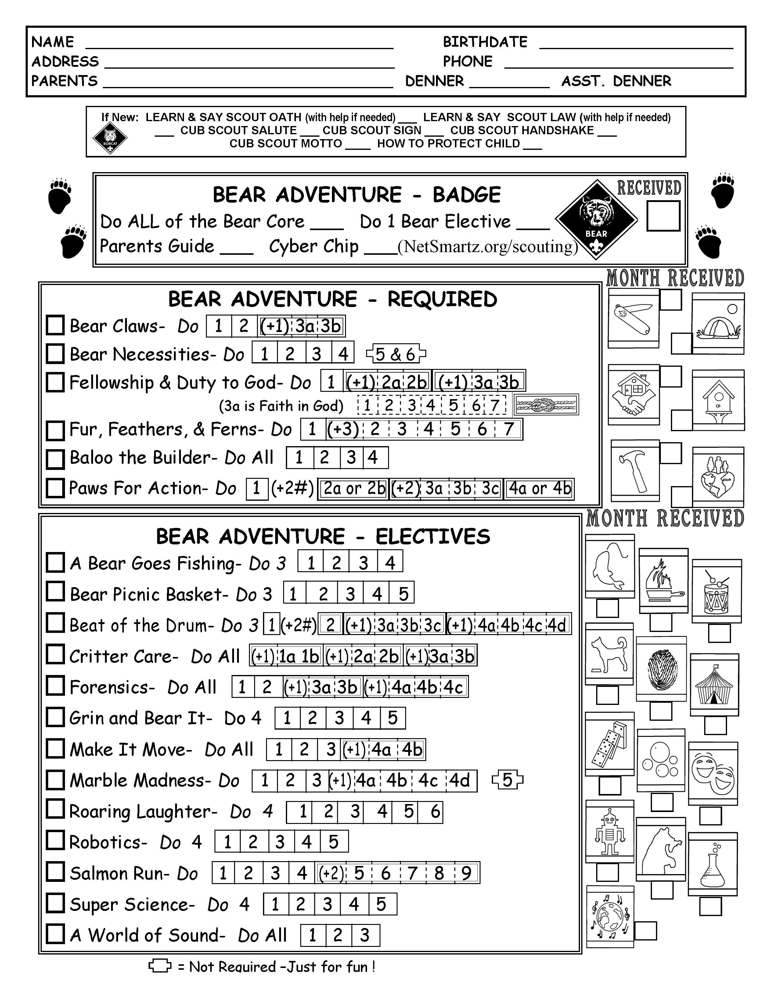 Cub Scout Bear Tracking Sheet Record With The New Modified
