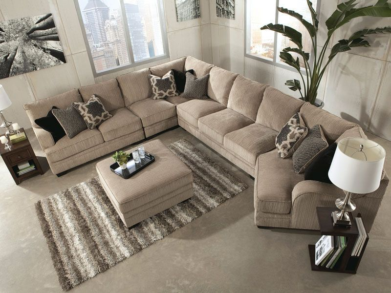 Soo 5pcs Oversized Modern Beige Fabric Sofa Couch Sectional Set Living