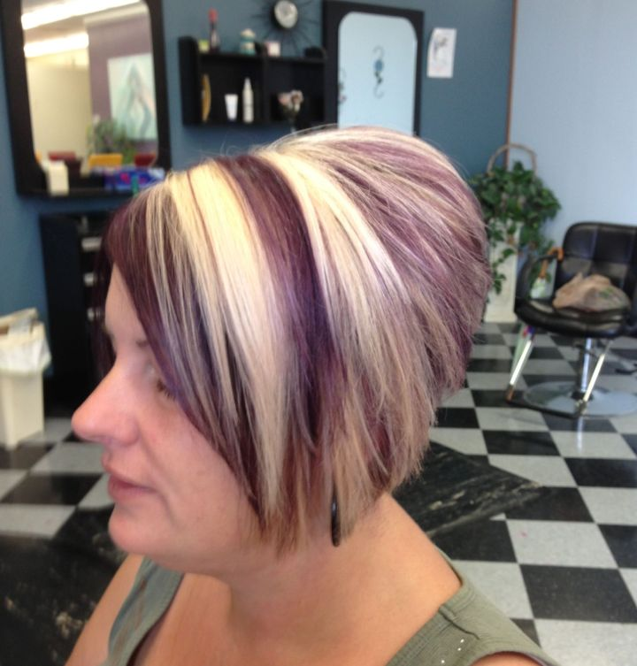 Blonde and plum with an inverted bob cut Hair Pinterest