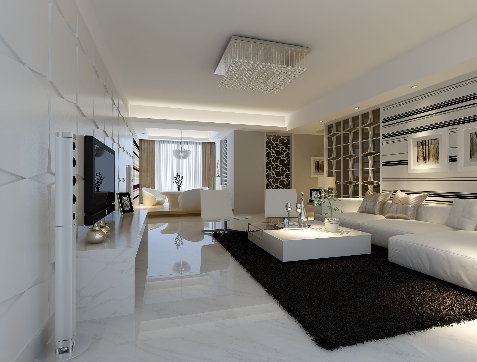 Modern white marble flooring for living room with black