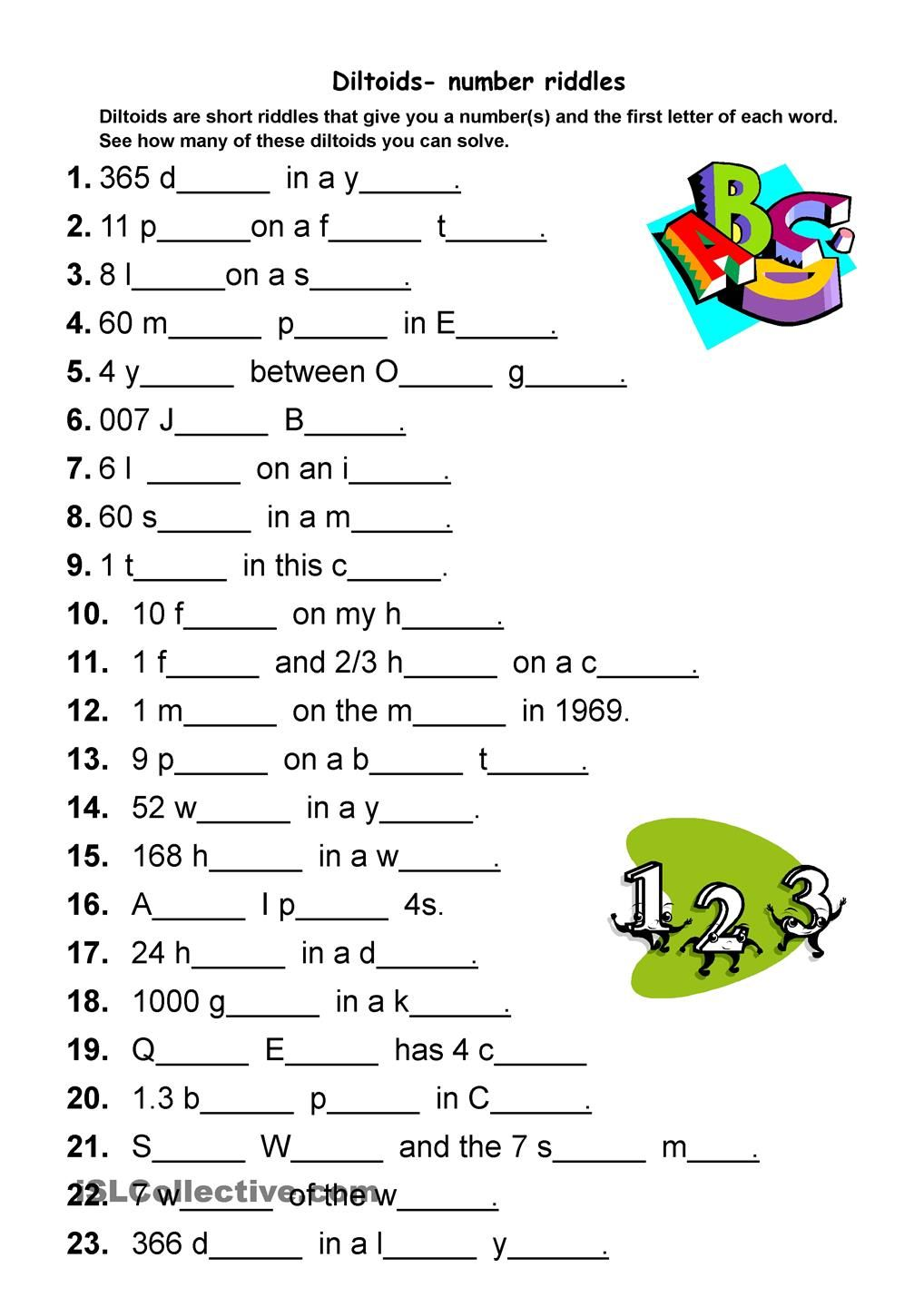 Diltoids number/letter puzzles Activities riddles