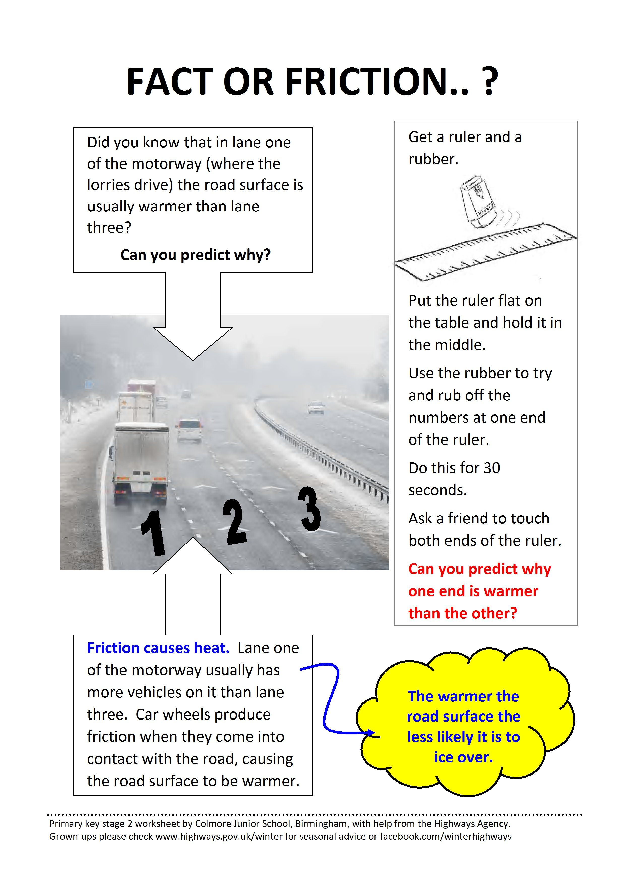 Primary Key Stage 2 Science Worksheet About Road Surface Temperature