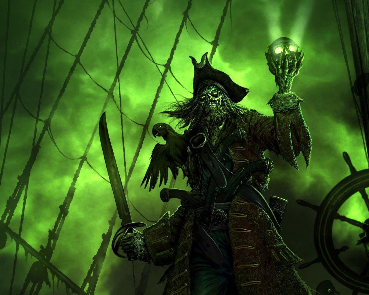 wallpapers :: green, skulls, black, pirate ship, pirates, parrots