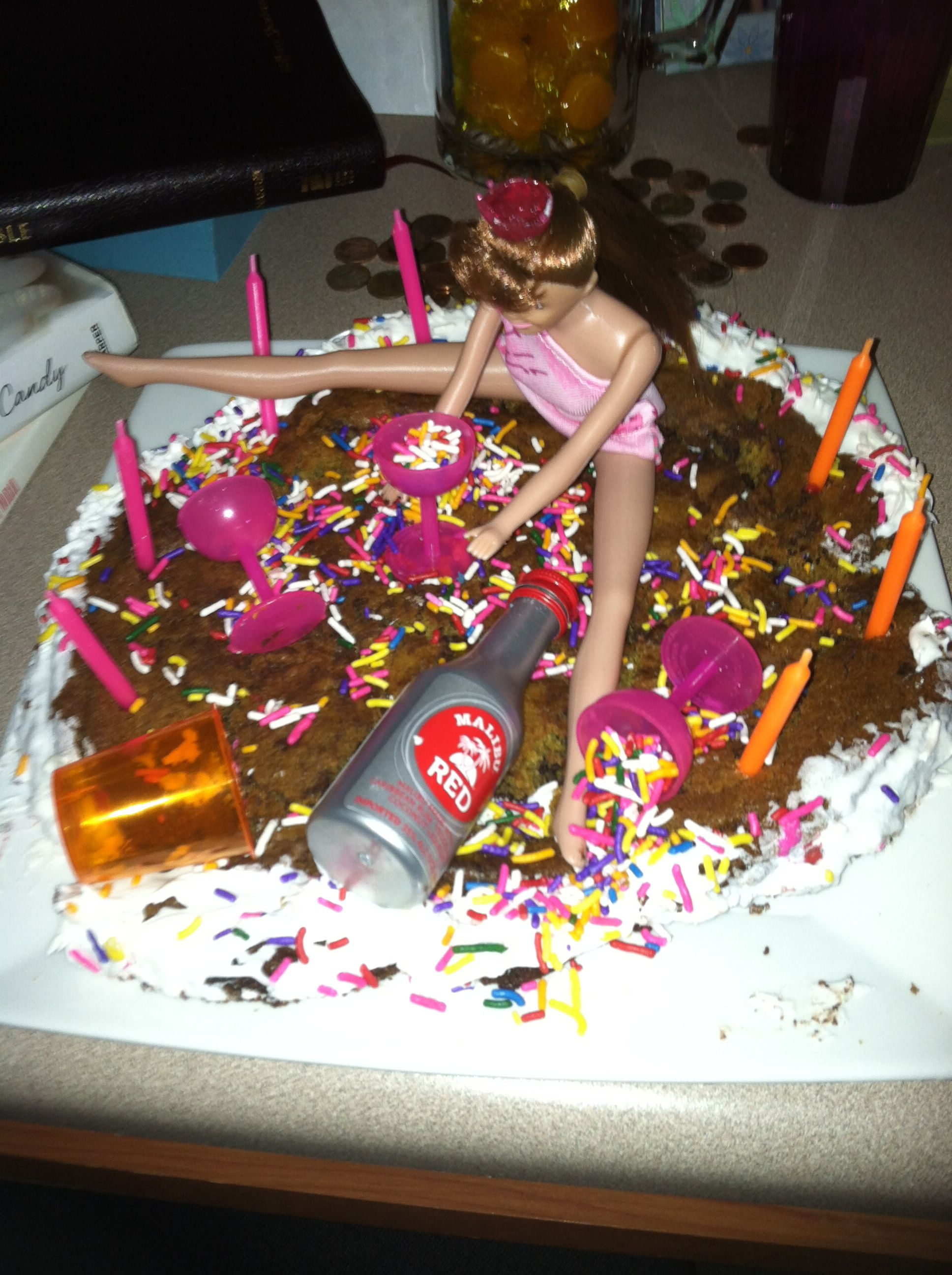 21st Birthday Cake Barbie Malibu Liquor