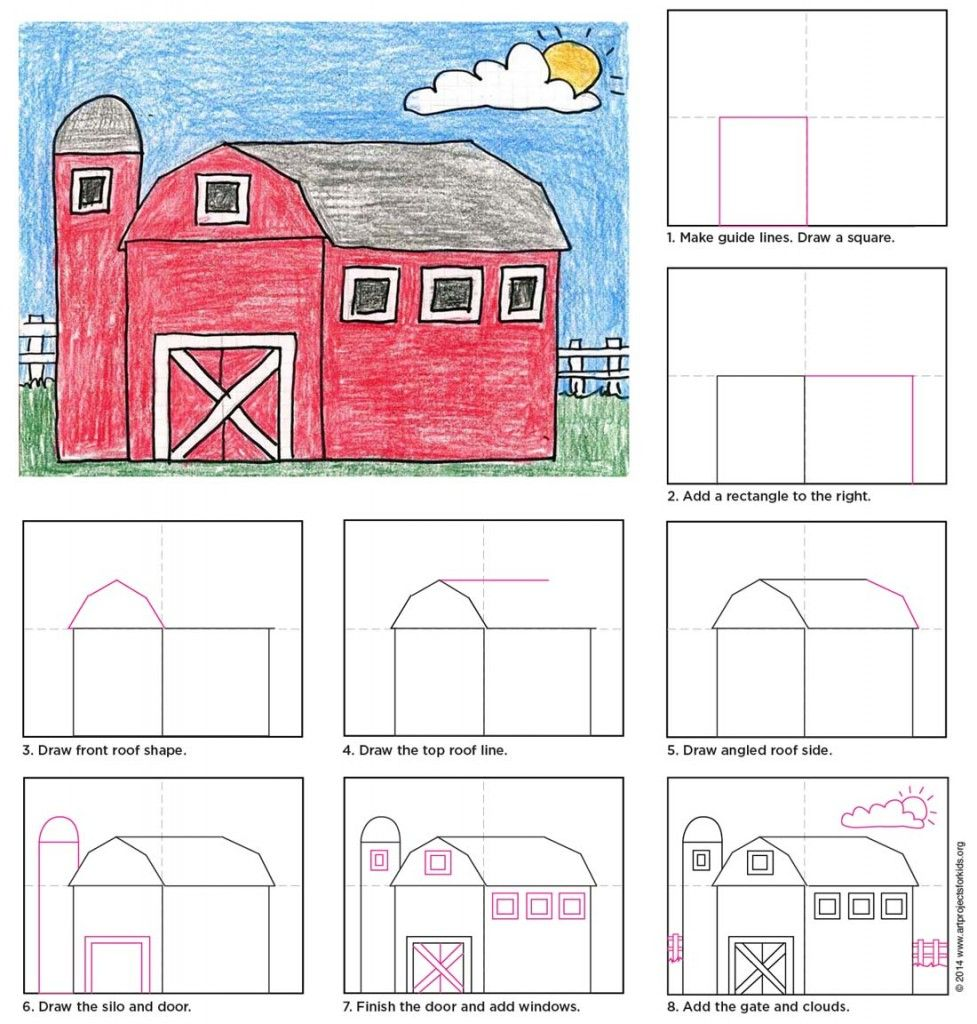 Draw a Country Barn Farming, Drawings and School