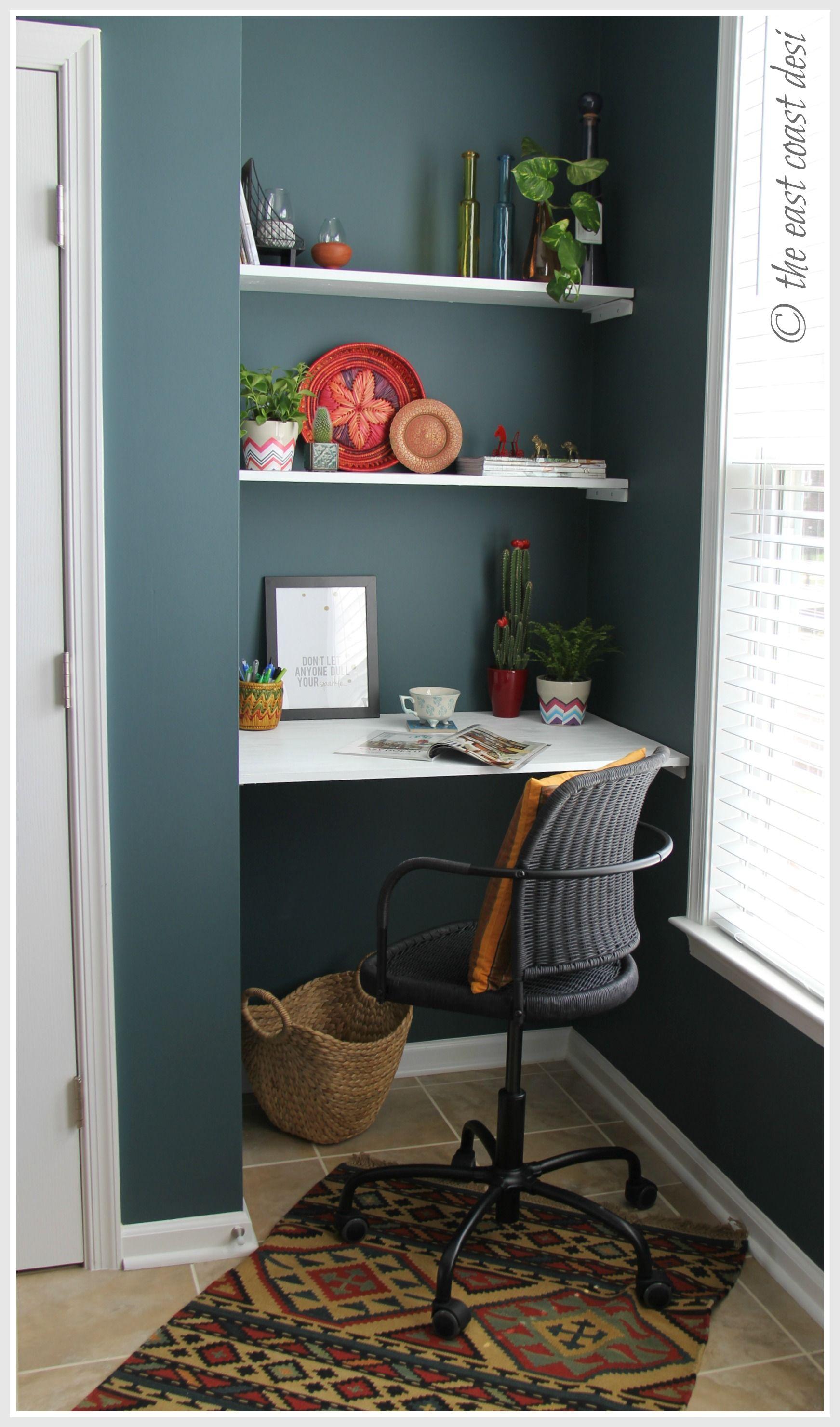Niche converted to a miniworking desk. DIY shelves (under