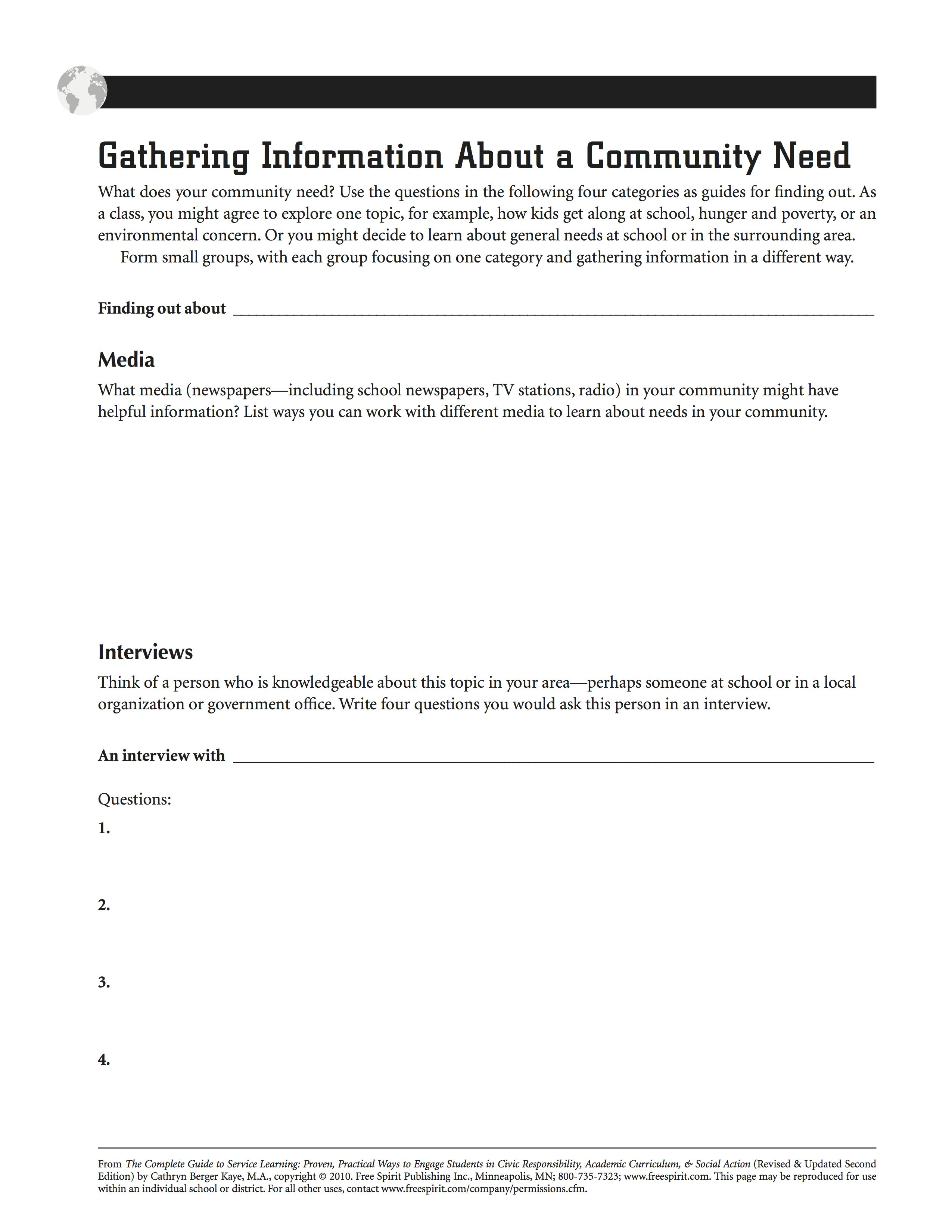 Free Printable Service Learning Worksheet Gathering