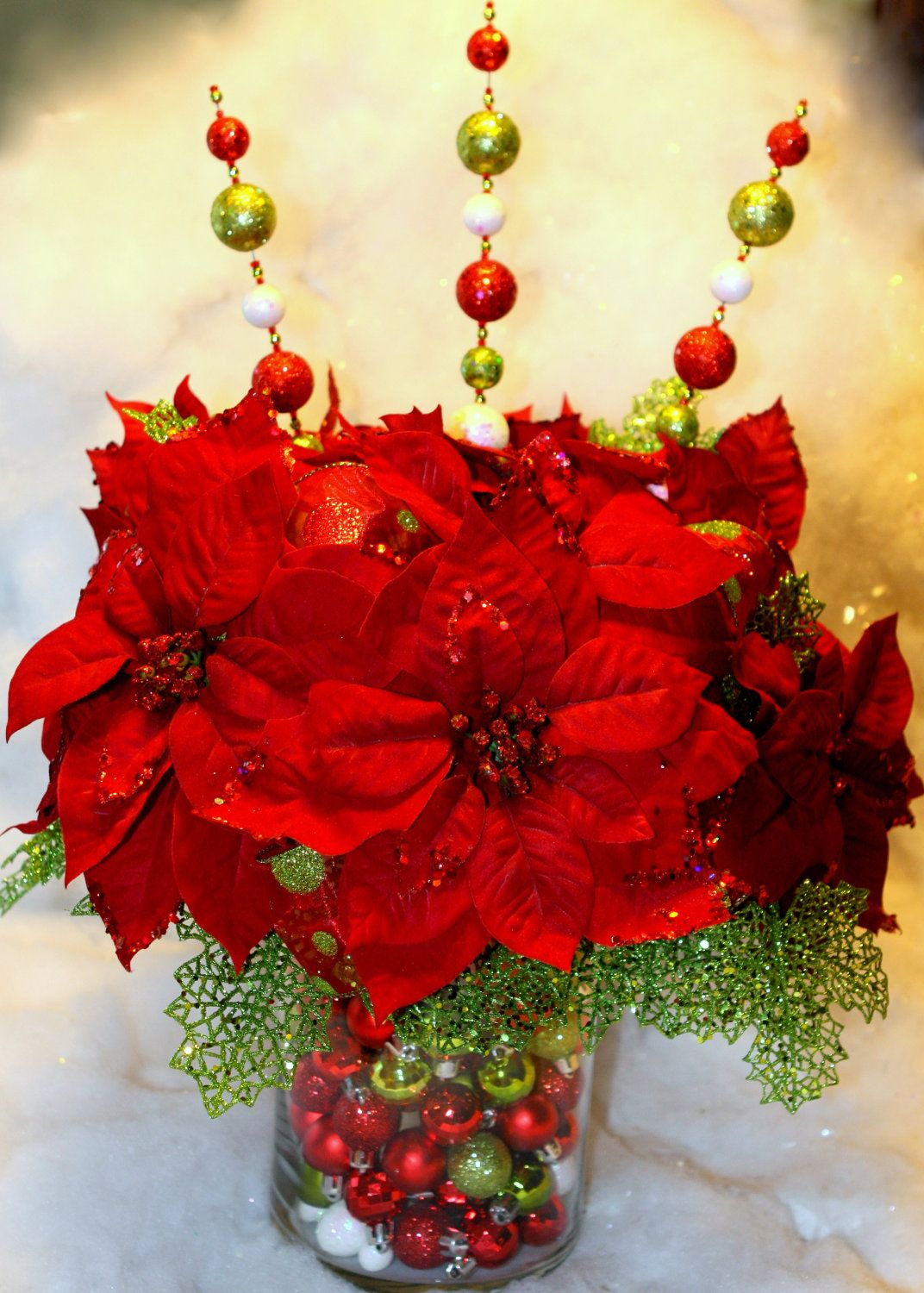 Red and Green Christmas centerpiece. christmas centre