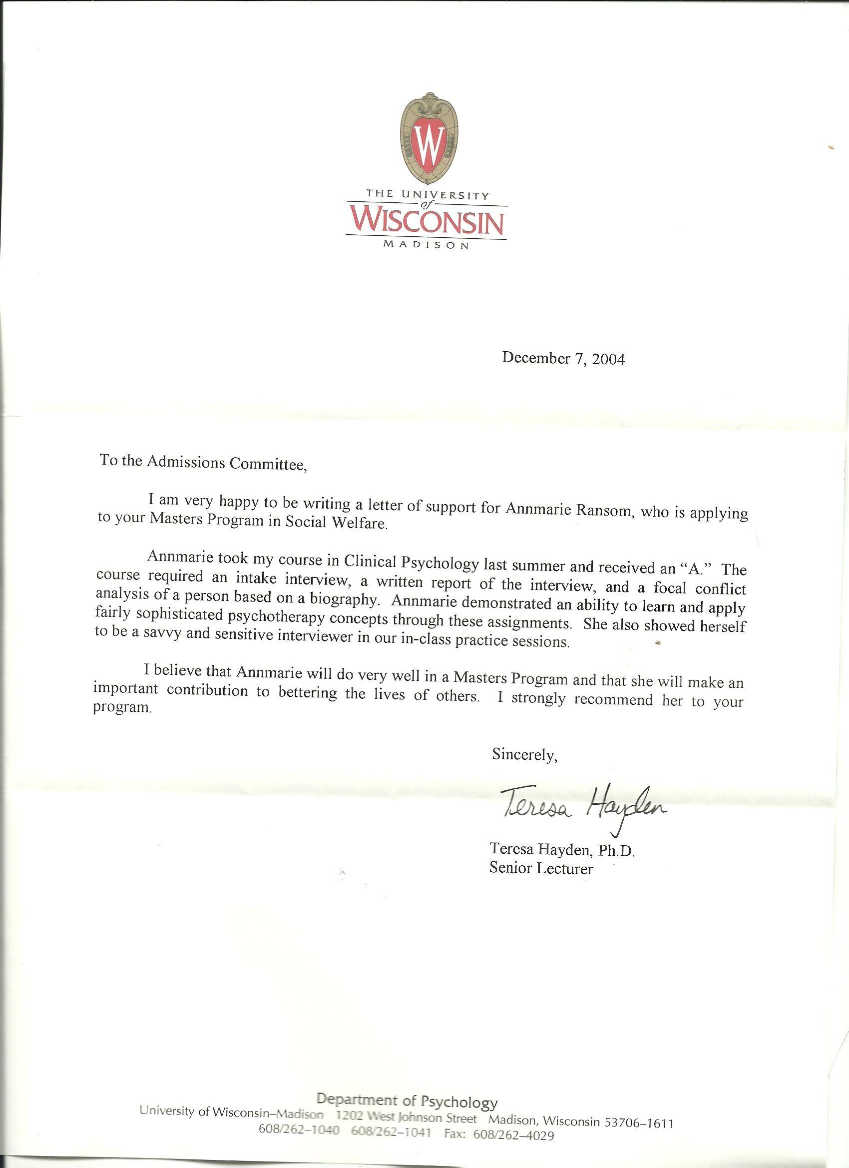 Graduate School Letter Professionalism