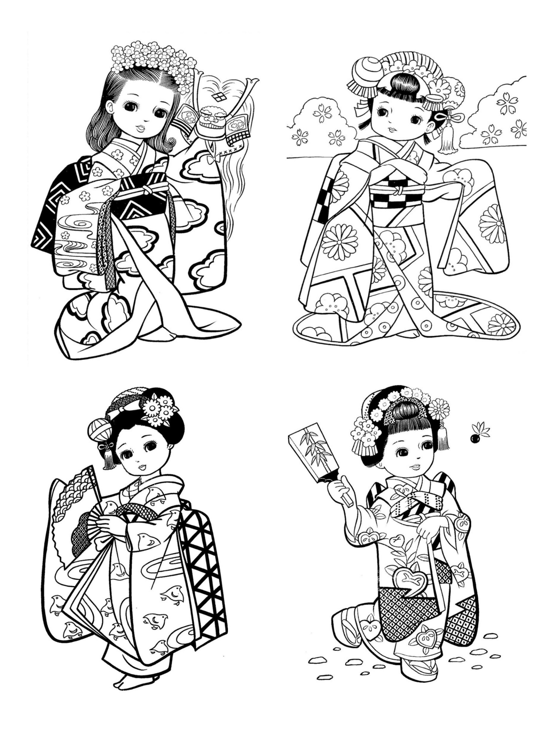 Free Coloring Page Coloring Little Japanese Child Style Drawing
