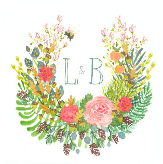 Hand Drawn Floral Wreath Monogram Names Flowers Ferns Succulents Orchid Pine Feathers