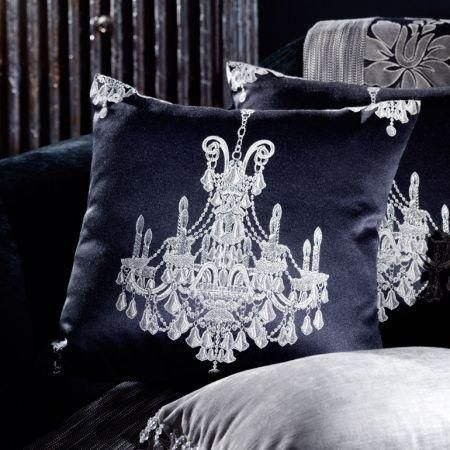 Clarke And Once Fabric Collection Black Chandelier Design Cushion
