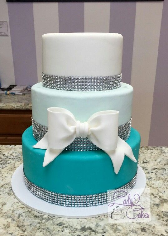 Teal Ombre Cake Quinceanera Cake Blind Cake White And