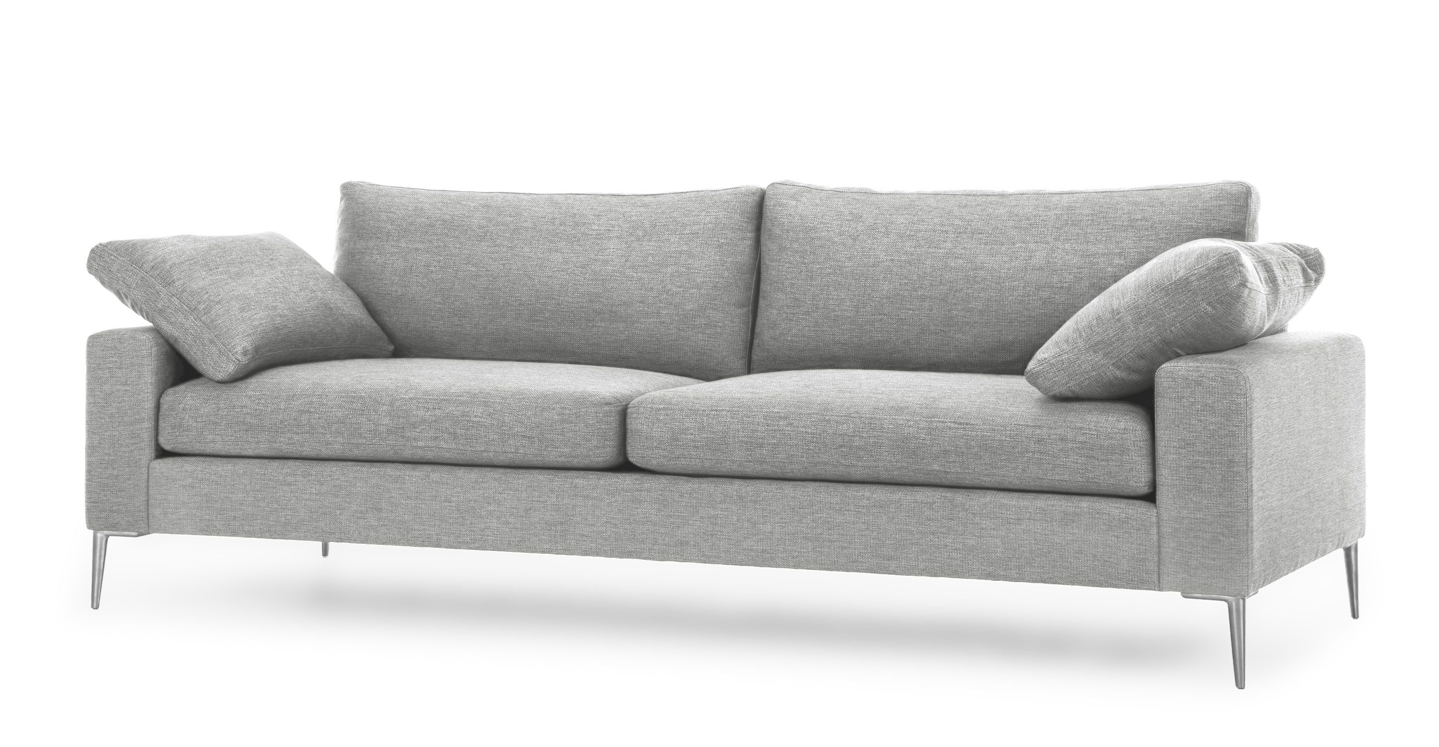 Light Gray Sofa 3 Seater With Metal Legs