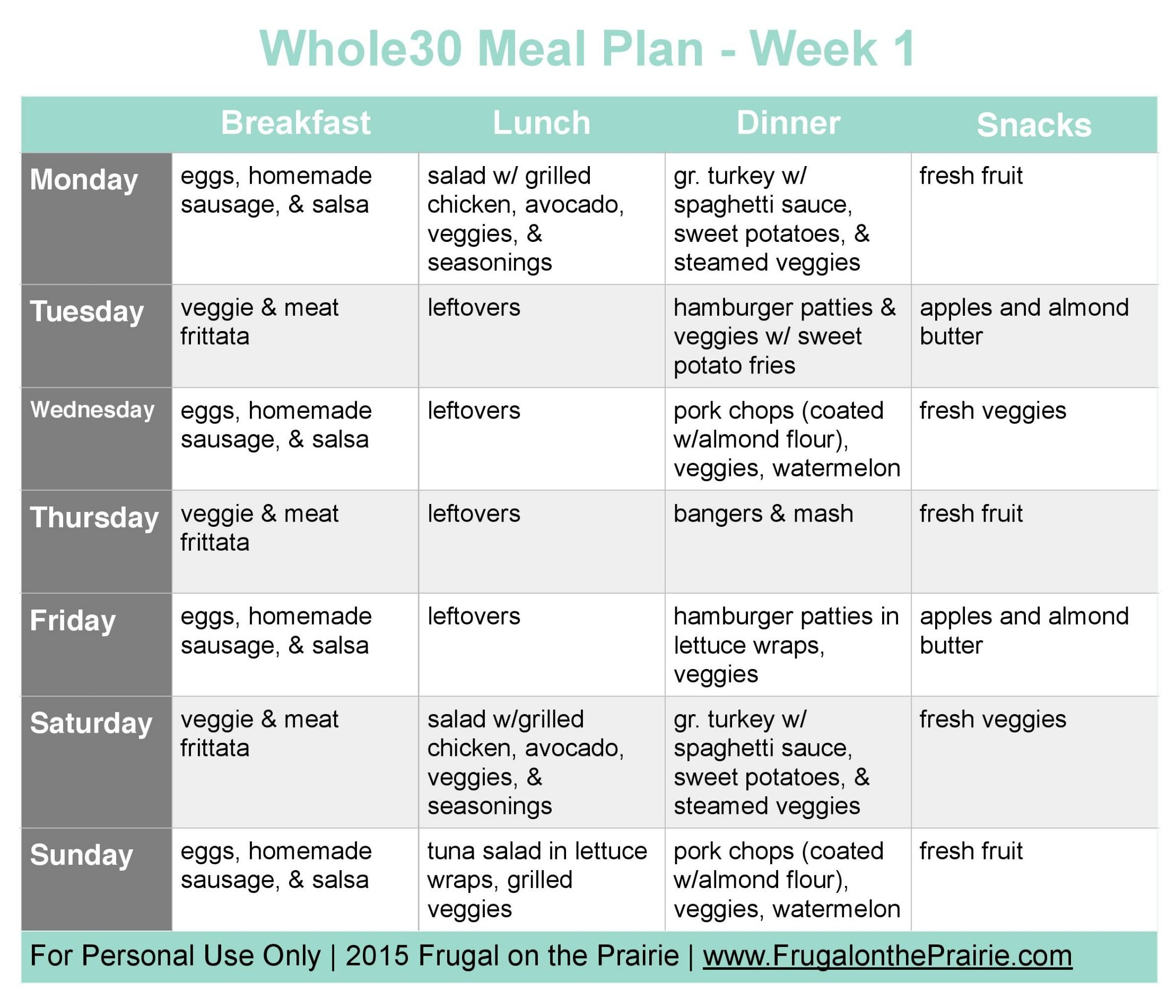 The Busy Person's Whole30 Meal Plan Week 1 Whole30