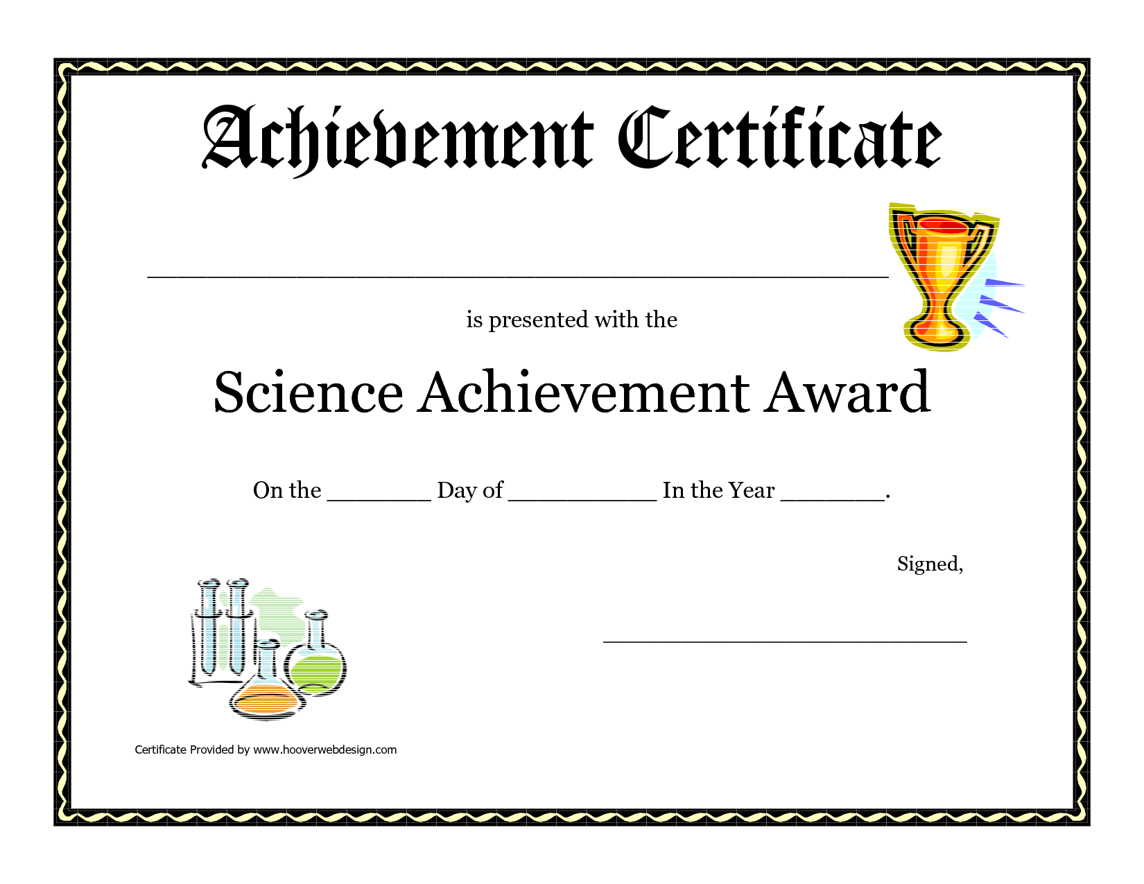 Science Fair Award Certificate Template Free Printable