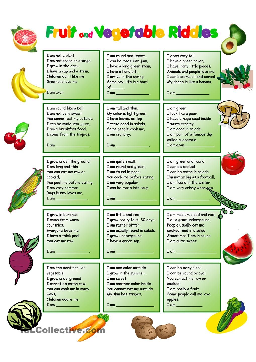 Fruit and Vegetables Riddles with KEY ADARGELIS