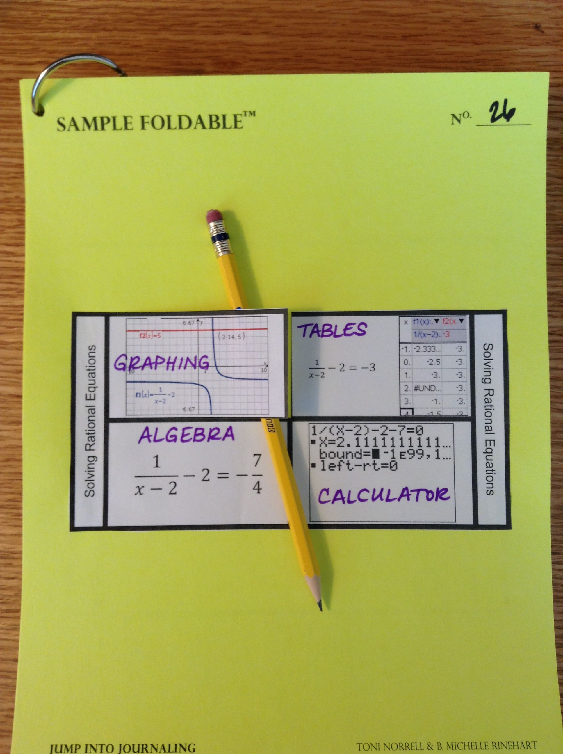 Solving Rational Equations Foldable Using Multiple Representations And Ti Nspire And Ti 84