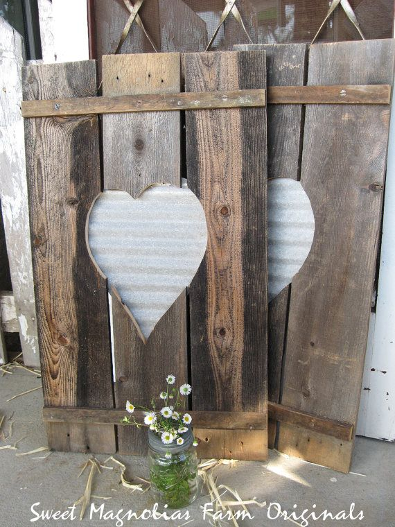 Wood Shutters Corrugated Metal Heart Centers Rustic