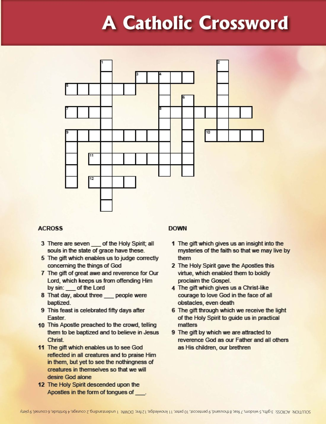 Gifts of the holy spirit crossword printable