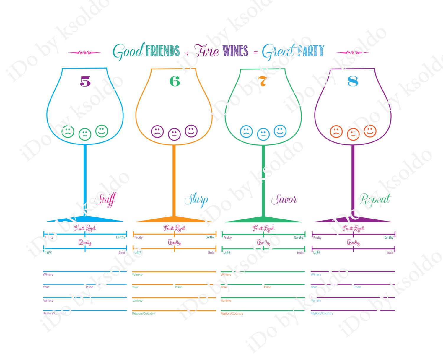 Wine Tasting Score Card For Up To 8 Wines Diy Printable By