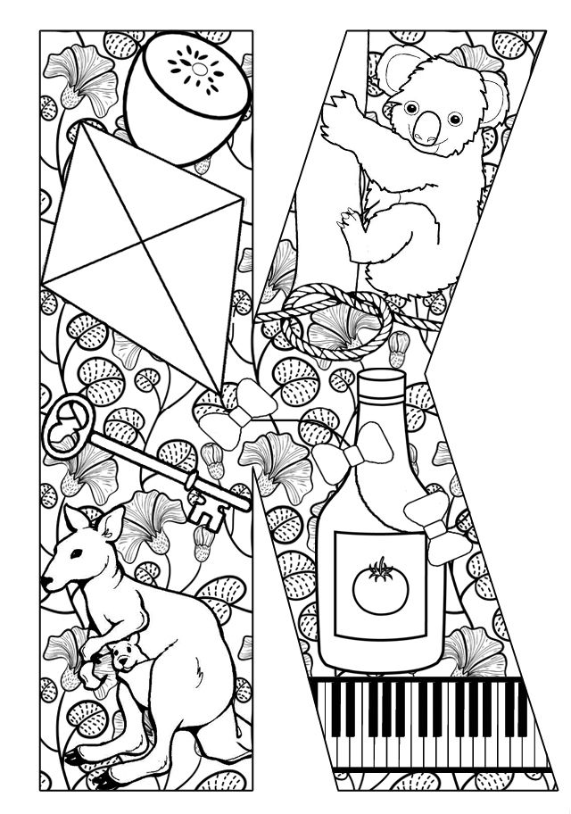 Things that start with K Free Printable Coloring Pages