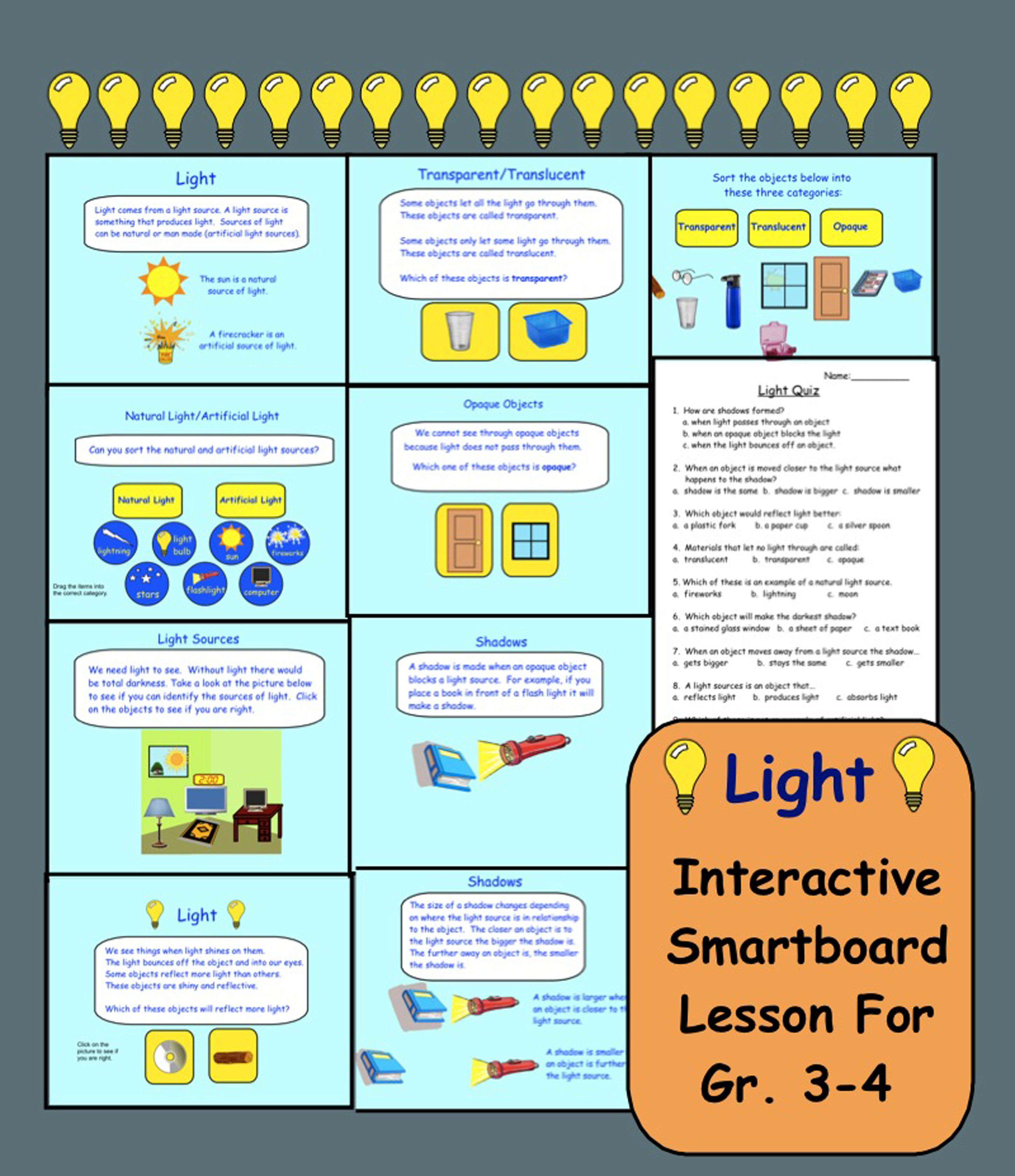 Light Interactive Smartboard Activities For Gr 3