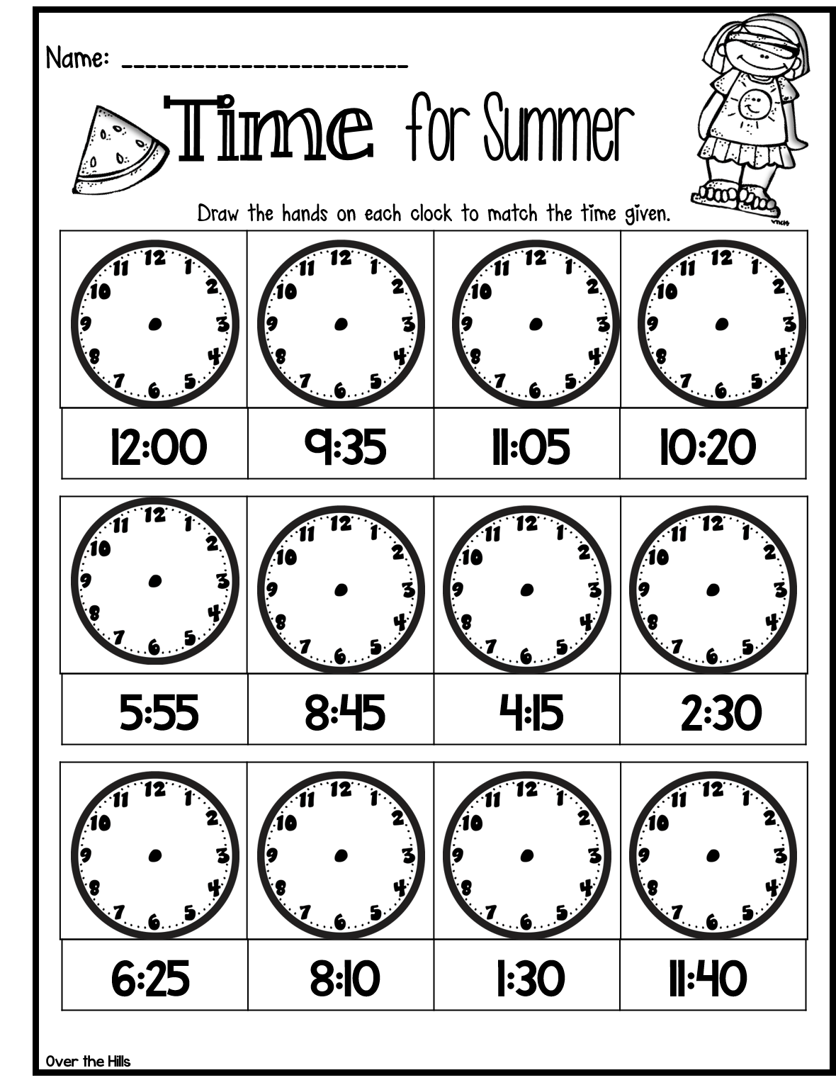 Quick Assessment Or Time Filler For Telling Time Great For End Of The Year Freebie