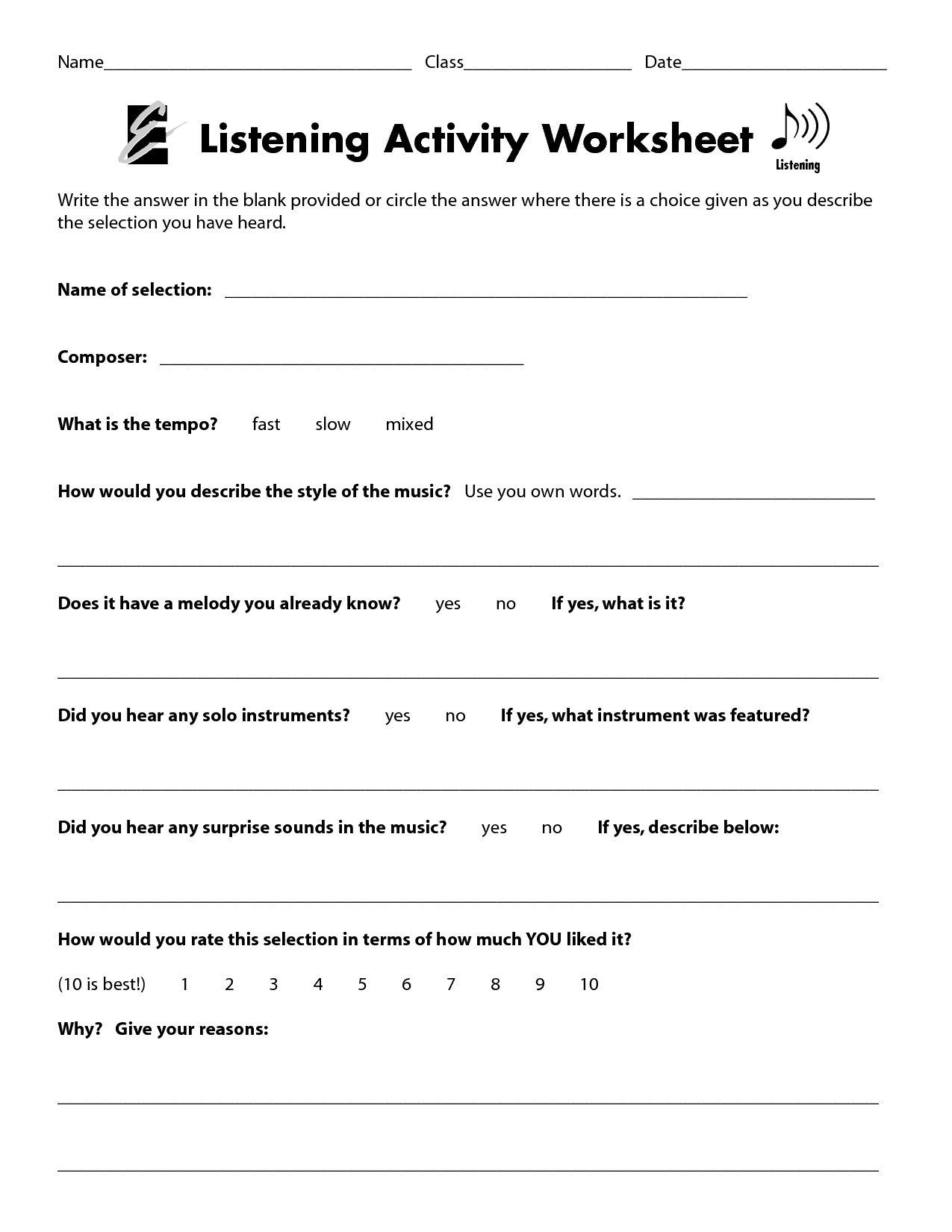 Listening Activity Worksheet