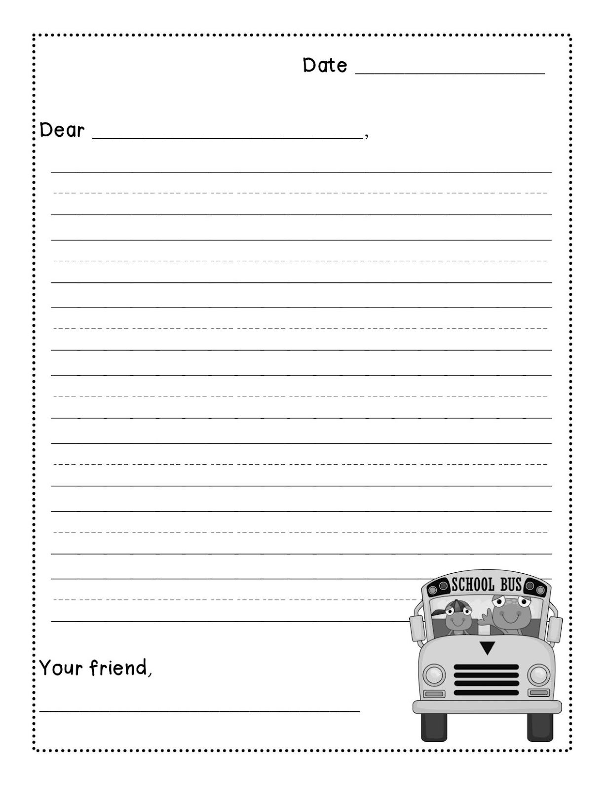 Friendly Letter Writing Freebie levelized templates up